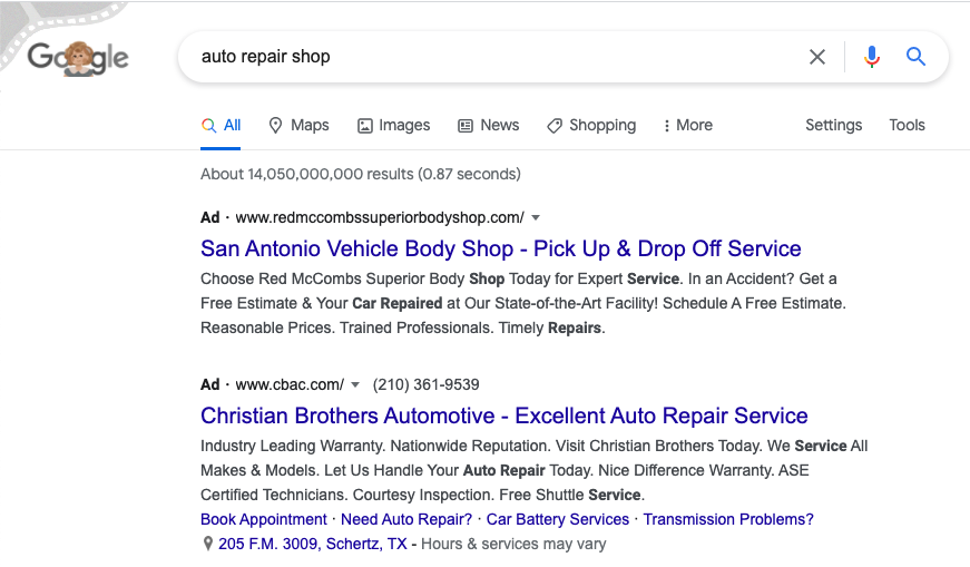 paid google search ads examples